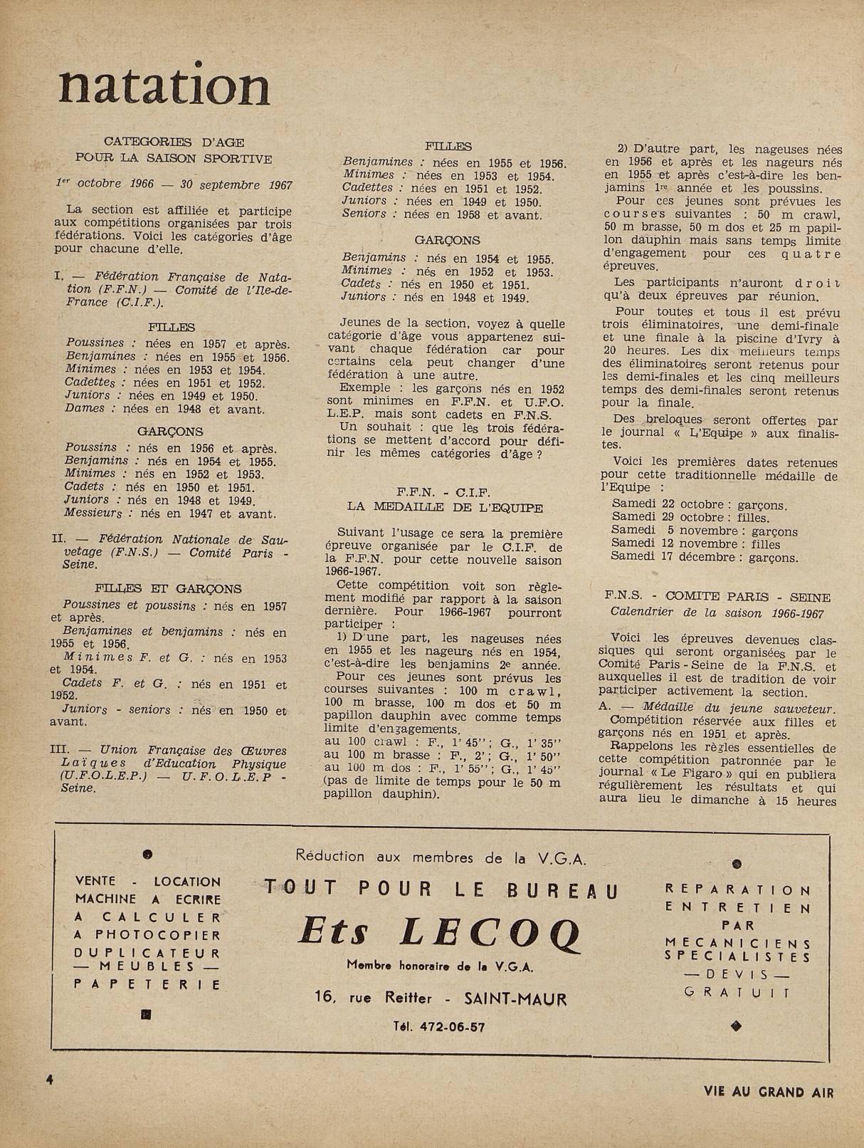 Calendrier 1951.Index Of Archives Vie Au Grand Air 1966 Octobre Novembre